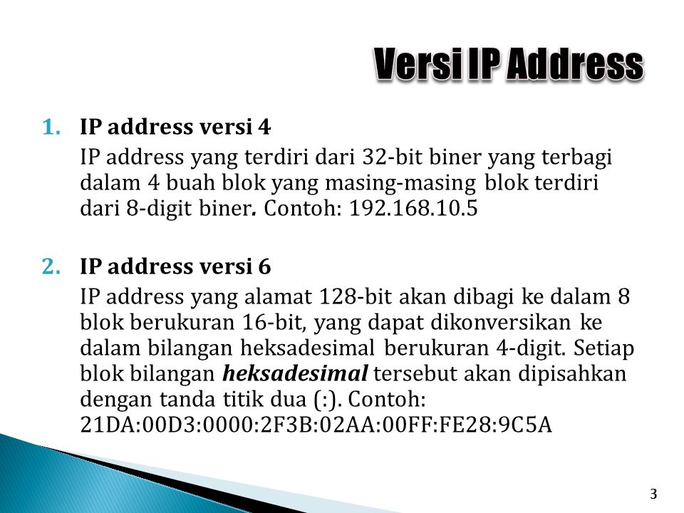 Versi IP Address IP address versi 4