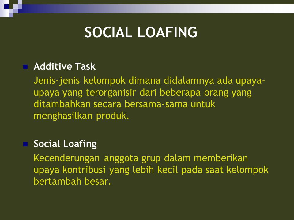 SOCIAL LOAFING Additive Task