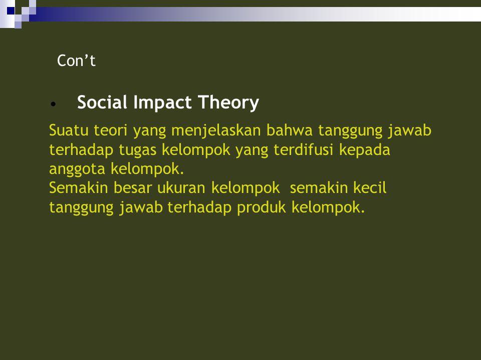 Con't Social Impact Theory. Suatu teori yang menjelaskan bahwa tanggung jawab terhadap tugas kelompok yang terdifusi kepada anggota kelompok.