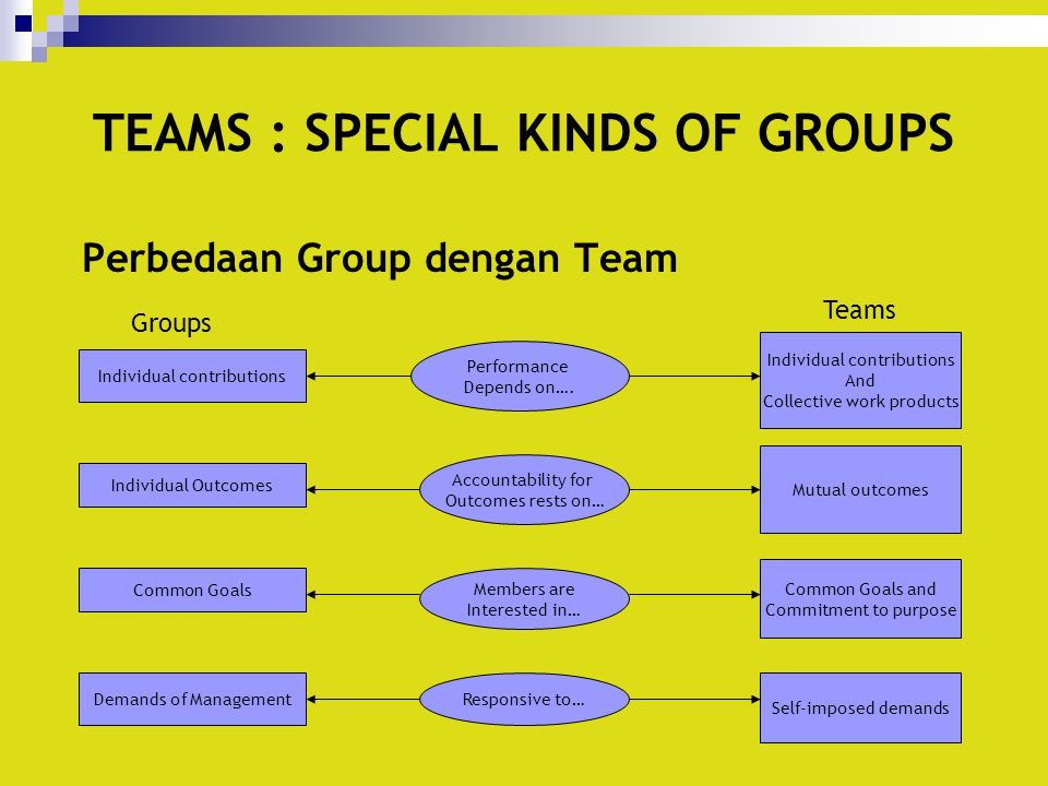 TEAMS : SPECIAL KINDS OF GROUPS