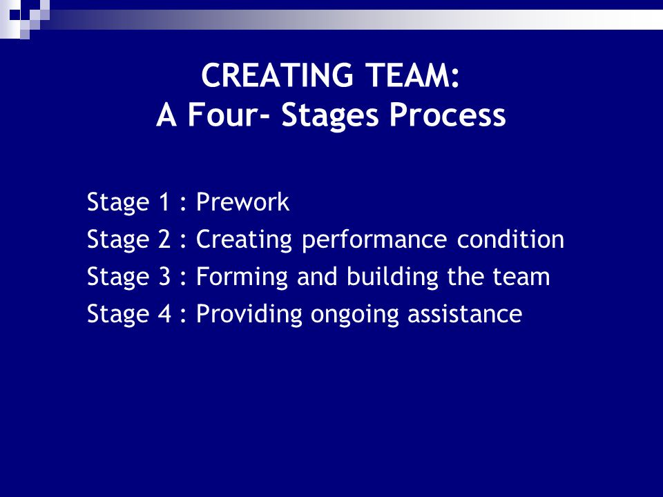 CREATING TEAM: A Four- Stages Process