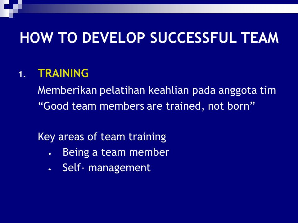 HOW TO DEVELOP SUCCESSFUL TEAM