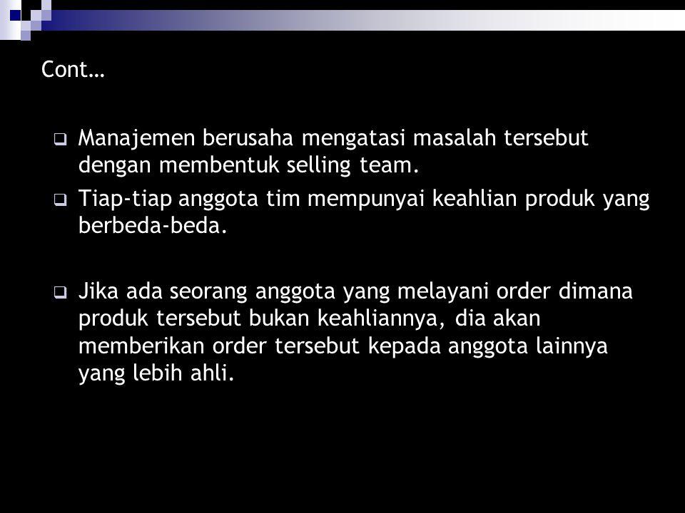 Cont… Manajemen berusaha mengatasi masalah tersebut dengan membentuk selling team.