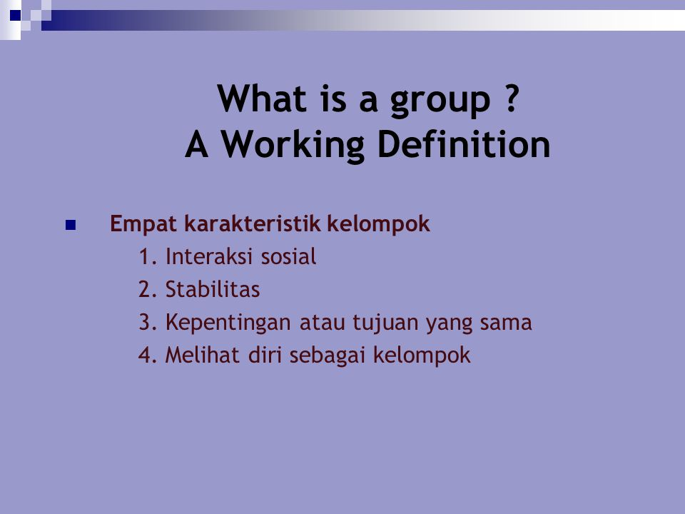 What is a group A Working Definition