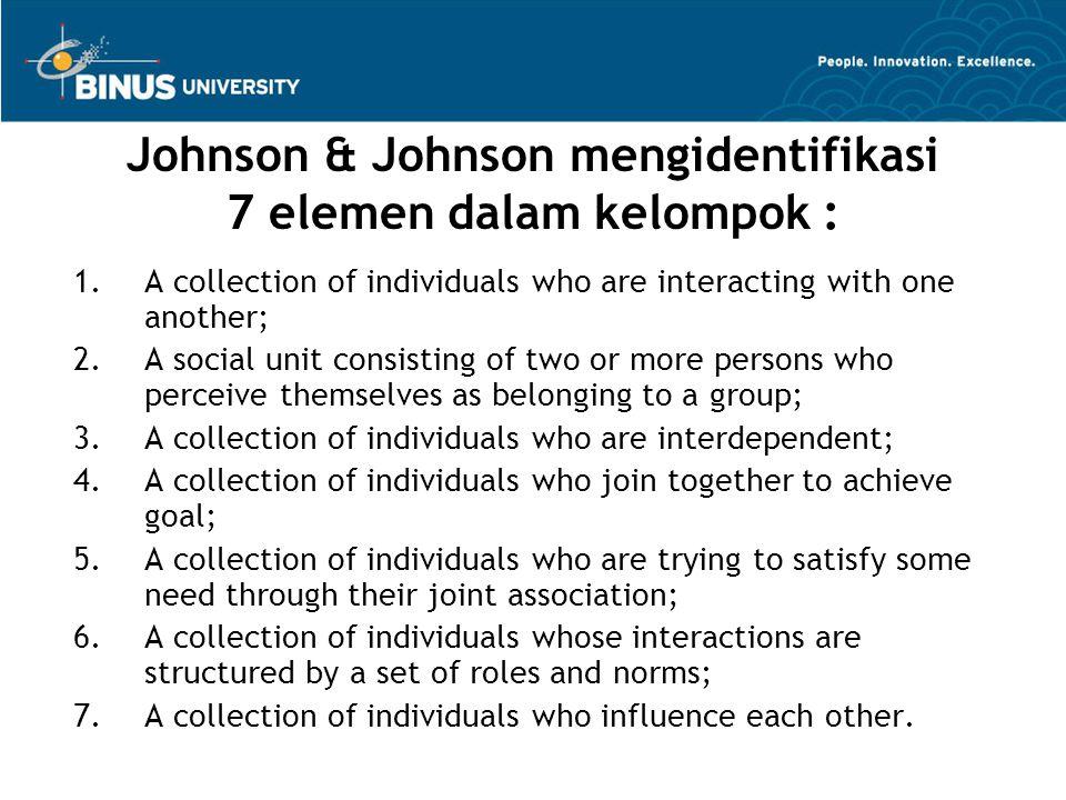 Johnson & Johnson mengidentifikasi 7 elemen dalam kelompok :