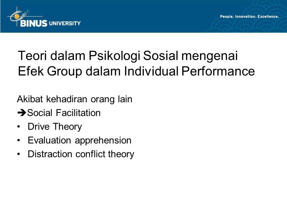 Teori dalam Psikologi Sosial mengenai Efek Group dalam Individual Performance