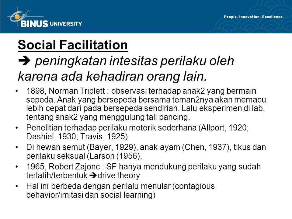 Social Facilitation  peningkatan intesitas perilaku oleh karena ada kehadiran orang lain.