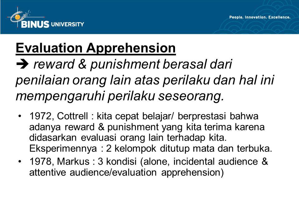Evaluation Apprehension  reward & punishment berasal dari penilaian orang lain atas perilaku dan hal ini mempengaruhi perilaku seseorang.
