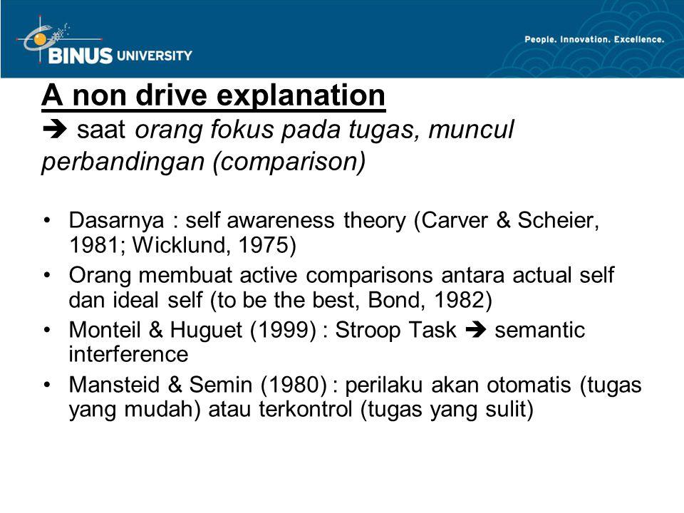 A non drive explanation  saat orang fokus pada tugas, muncul perbandingan (comparison)