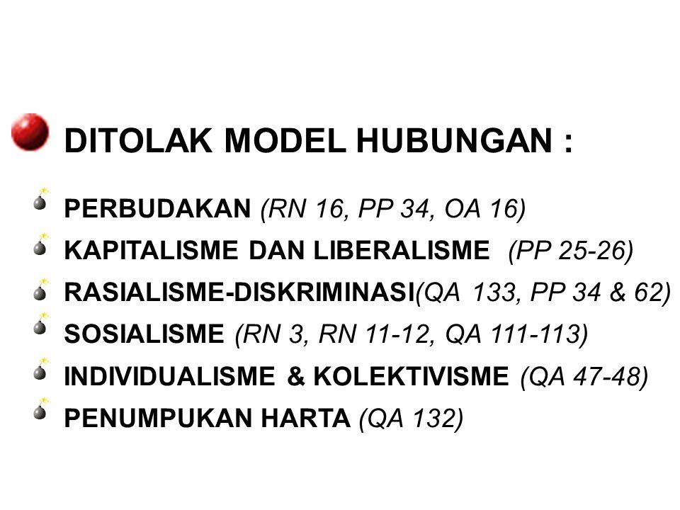 DITOLAK MODEL HUBUNGAN :