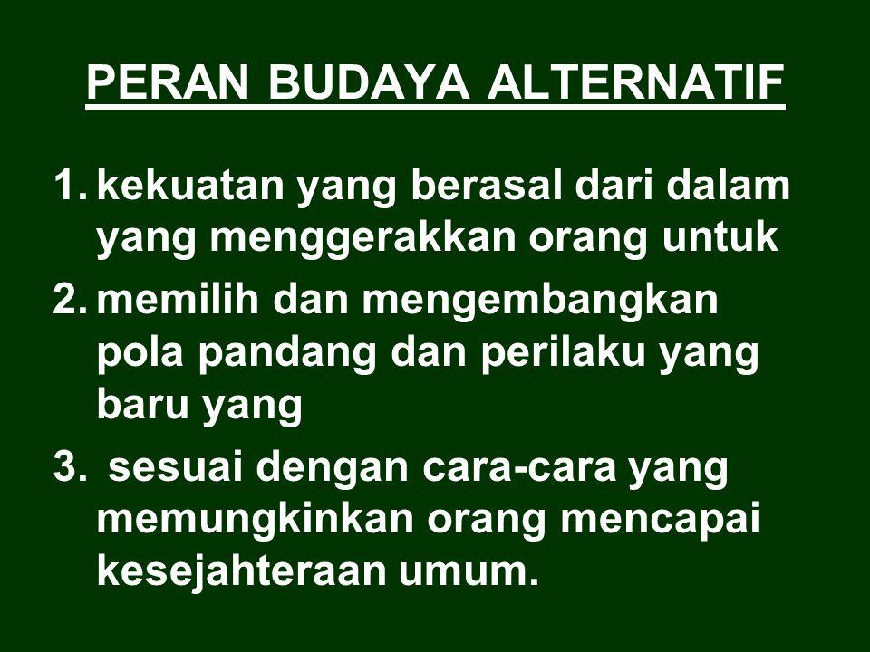 PERAN BUDAYA ALTERNATIF