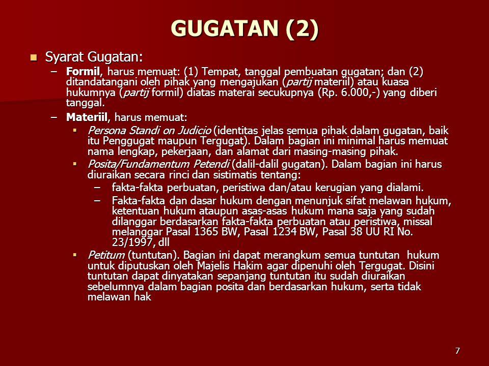GUGATAN (2) Syarat Gugatan:
