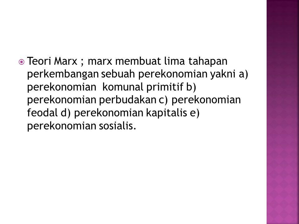 Teori Marx ; marx membuat lima tahapan perkembangan sebuah perekonomian yakni a) perekonomian komunal primitif b) perekonomian perbudakan c) perekonomian feodal d) perekonomian kapitalis e) perekonomian sosialis.