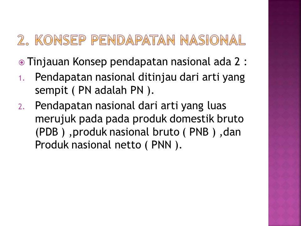 2. Konsep pendapatan nasional