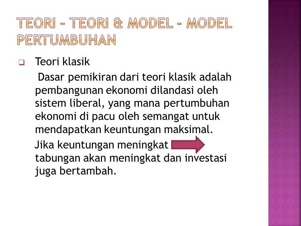 TEORI – TEORI & MODEL - MODEL PERTUMBUHAN