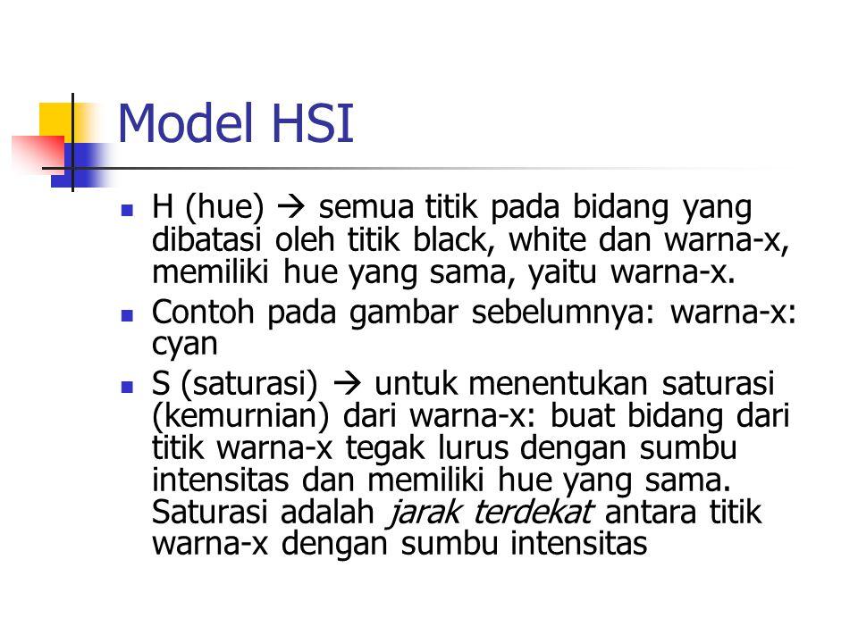 Model HSI H (hue)  semua titik pada bidang yang dibatasi oleh titik black, white dan warna-x, memiliki hue yang sama, yaitu warna-x.