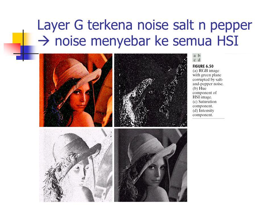 Layer G terkena noise salt n pepper  noise menyebar ke semua HSI