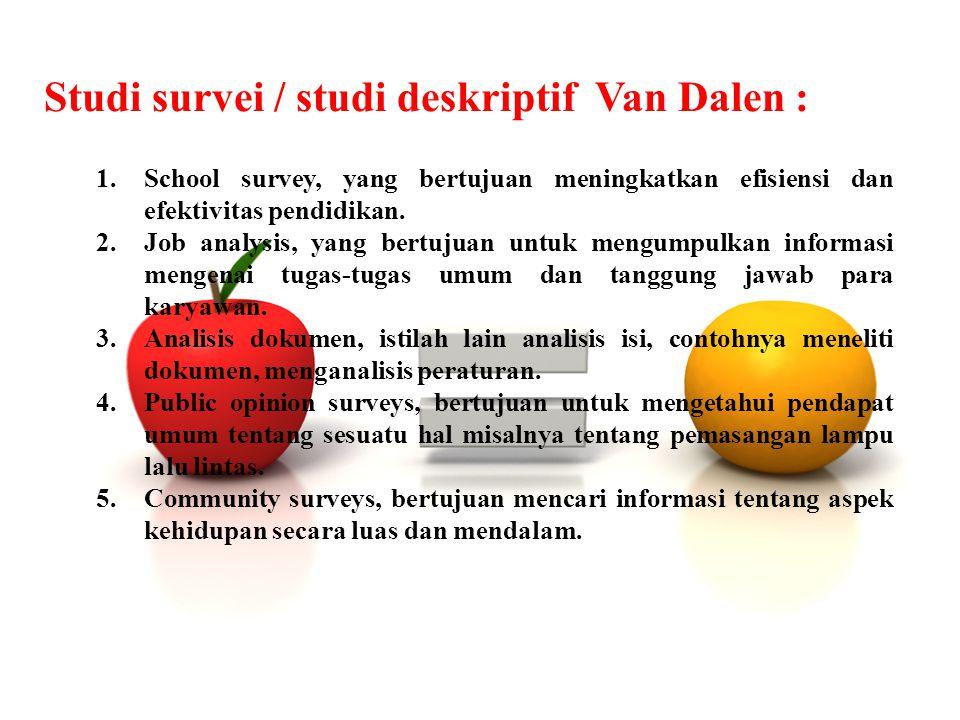 Studi survei / studi deskriptif Van Dalen :