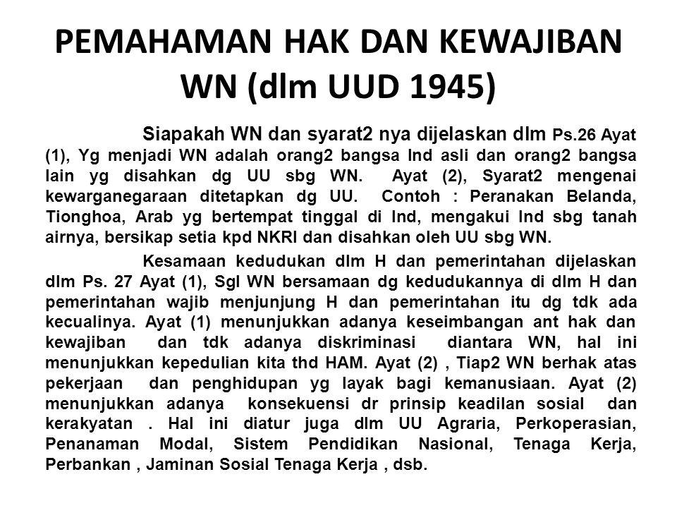PEMAHAMAN HAK DAN KEWAJIBAN WN (dlm UUD 1945)