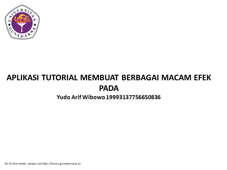 APLIKASI TUTORIAL MEMBUAT BERBAGAI MACAM EFEK PADA Yudo Arif Wibowo 19993137756650836