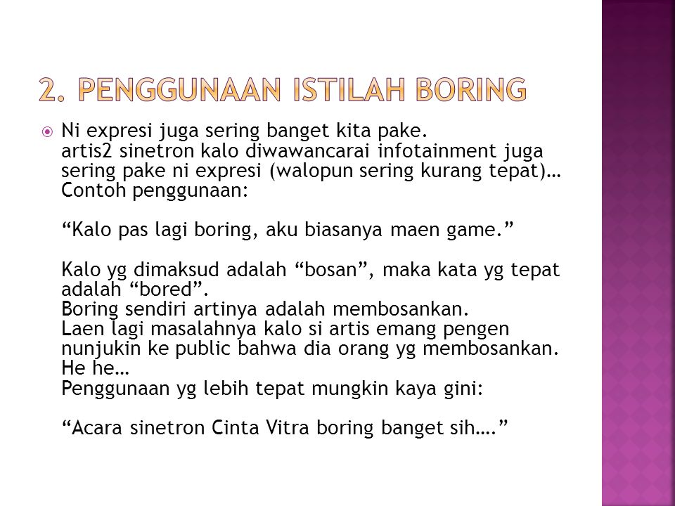 2. Penggunaan Istilah boring