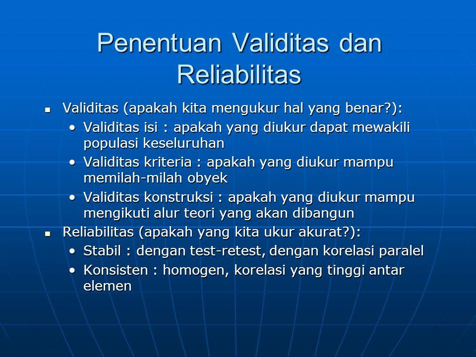 Penentuan Validitas dan Reliabilitas