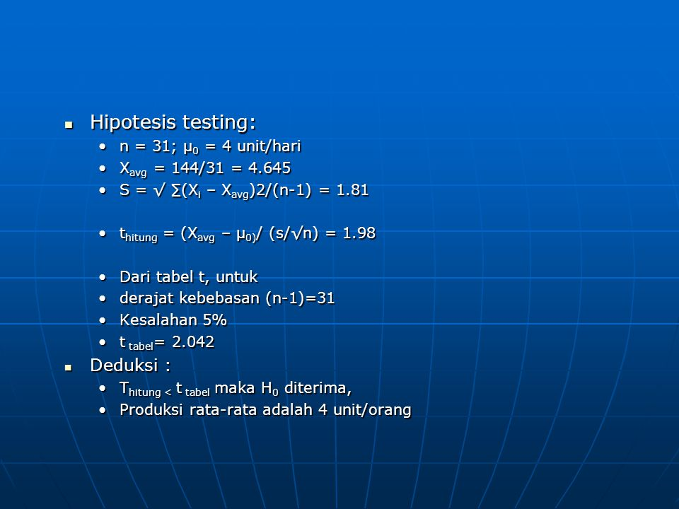 Hipotesis testing: Deduksi : n = 31; μ0 = 4 unit/hari