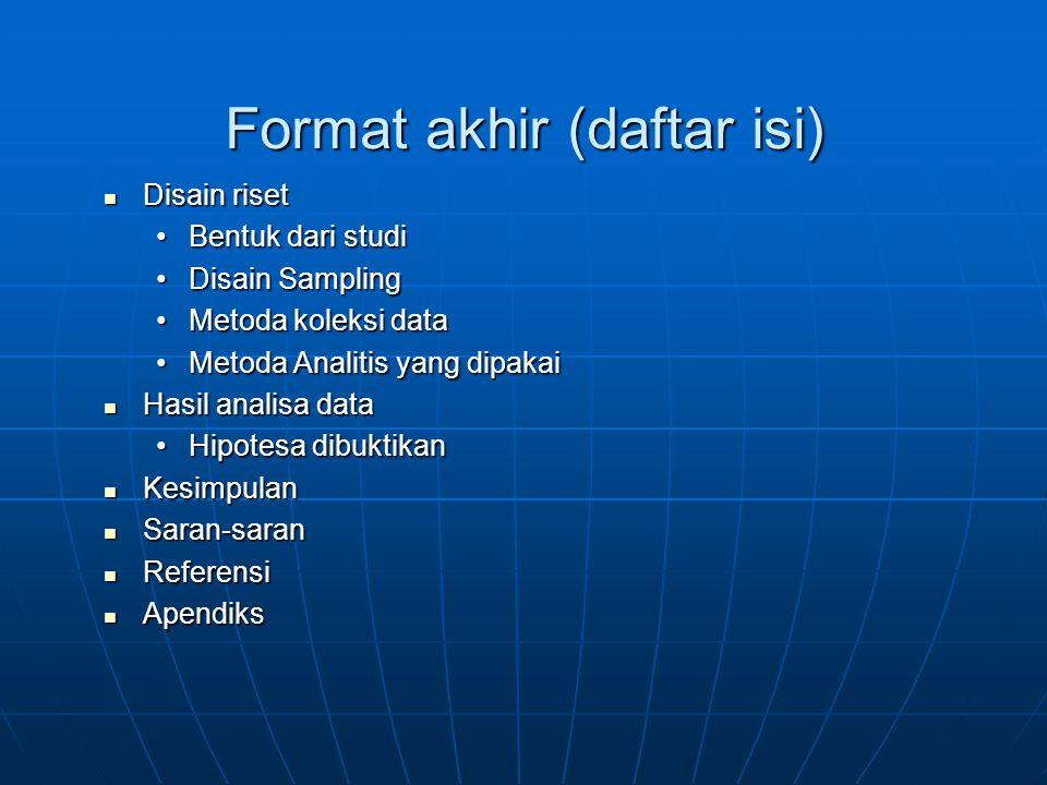 Format akhir (daftar isi)