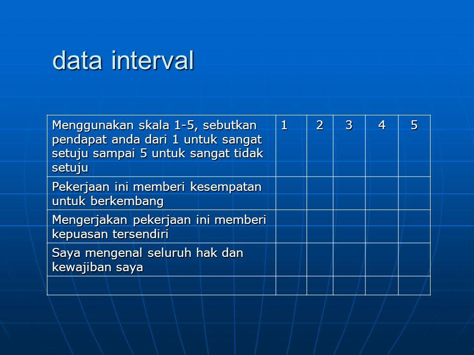 data interval Menggunakan skala 1-5, sebutkan pendapat anda dari 1 untuk sangat setuju sampai 5 untuk sangat tidak setuju.