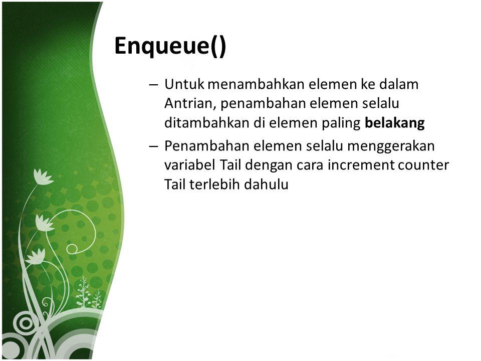 Enqueue() Untuk menambahkan elemen ke dalam Antrian, penambahan elemen selalu ditambahkan di elemen paling belakang.