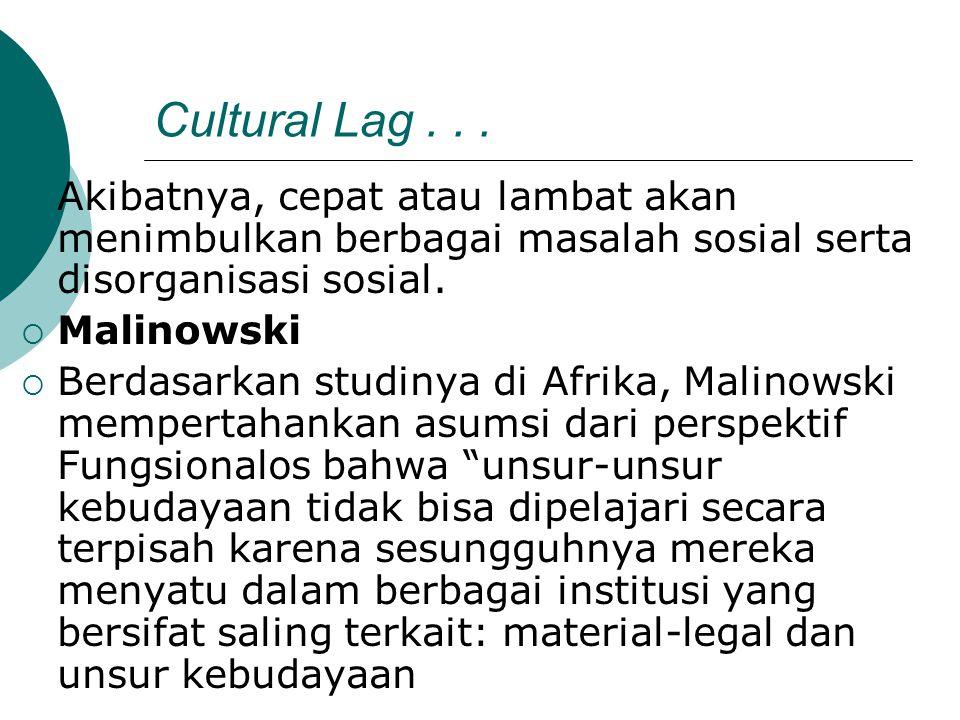Cultural Lag . . . Akibatnya, cepat atau lambat akan menimbulkan berbagai masalah sosial serta disorganisasi sosial.