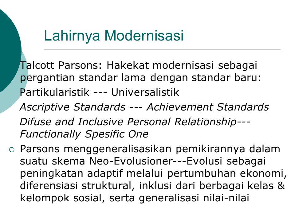 Lahirnya Modernisasi Talcott Parsons: Hakekat modernisasi sebagai pergantian standar lama dengan standar baru: