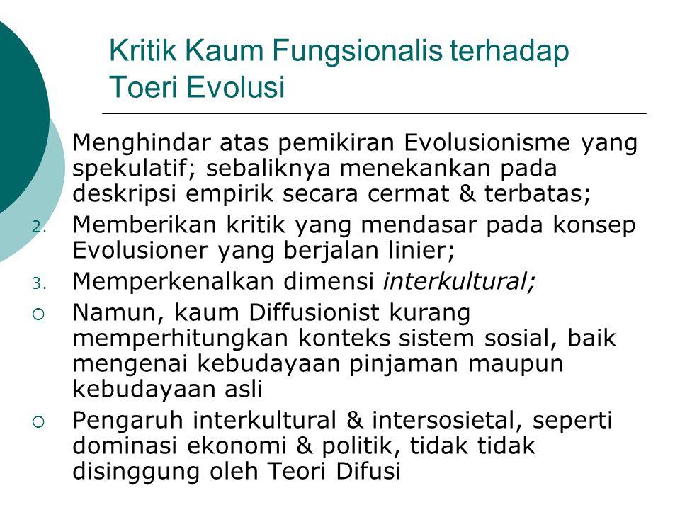 Kritik Kaum Fungsionalis terhadap Toeri Evolusi