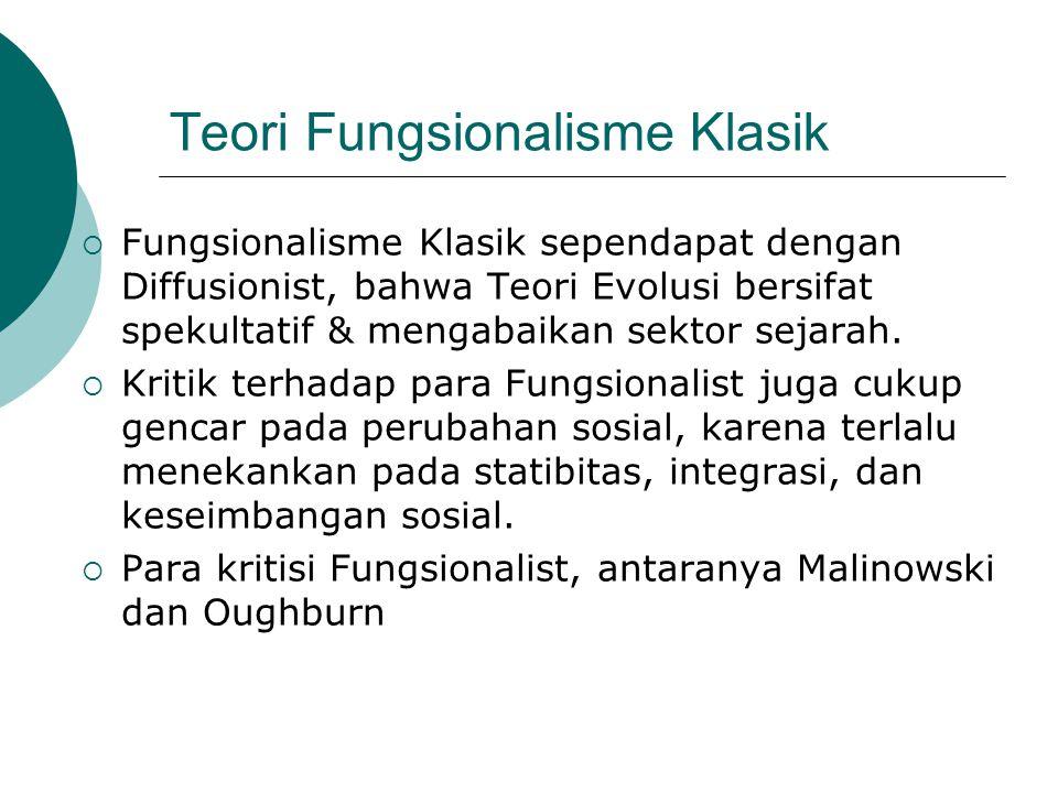 Teori Fungsionalisme Klasik