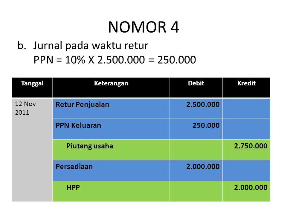 NOMOR 4 Jurnal pada waktu retur PPN = 10% X 2.500.000 = 250.000
