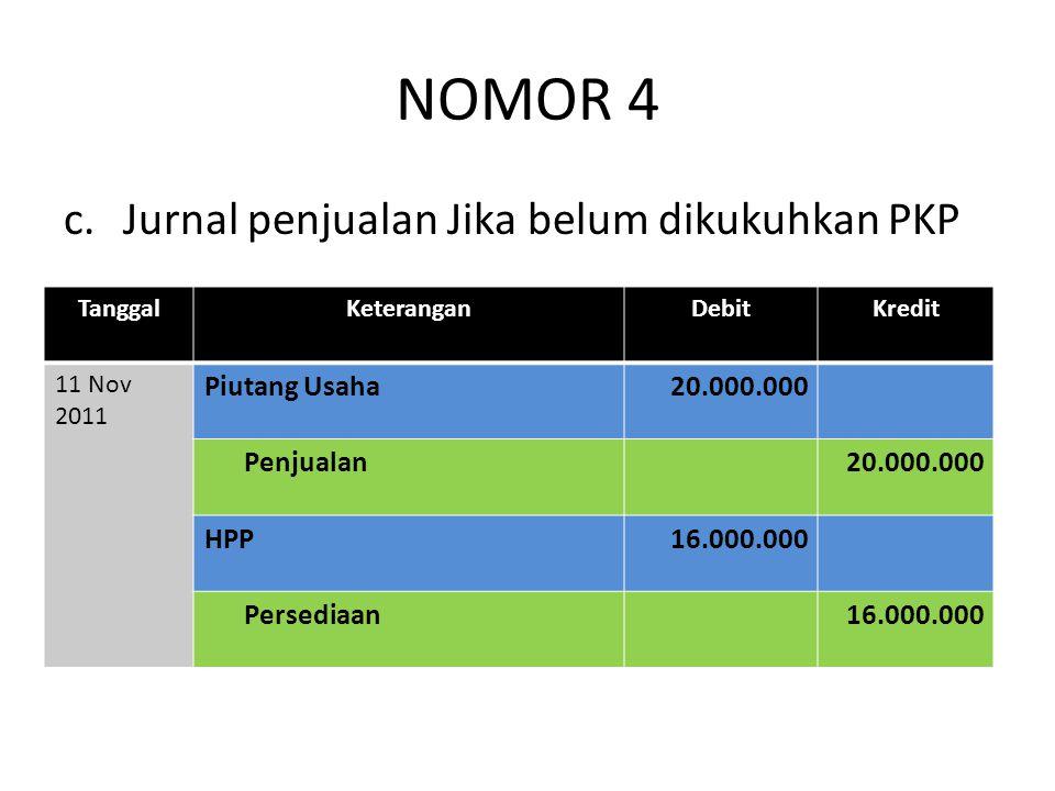 NOMOR 4 c. Jurnal penjualan Jika belum dikukuhkan PKP Piutang Usaha