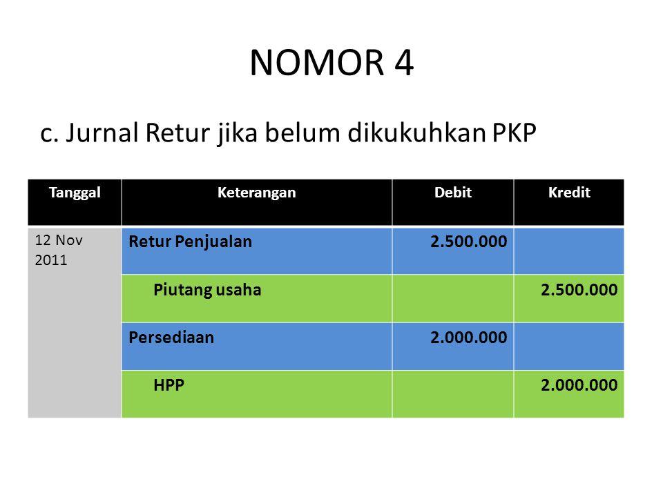 NOMOR 4 c. Jurnal Retur jika belum dikukuhkan PKP Retur Penjualan