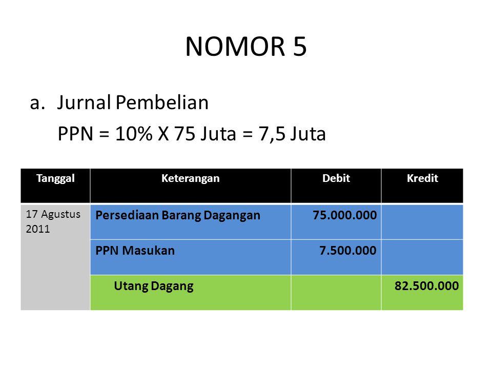 NOMOR 5 Jurnal Pembelian PPN = 10% X 75 Juta = 7,5 Juta