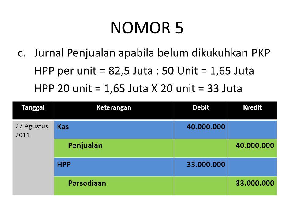 NOMOR 5 Jurnal Penjualan apabila belum dikukuhkan PKP