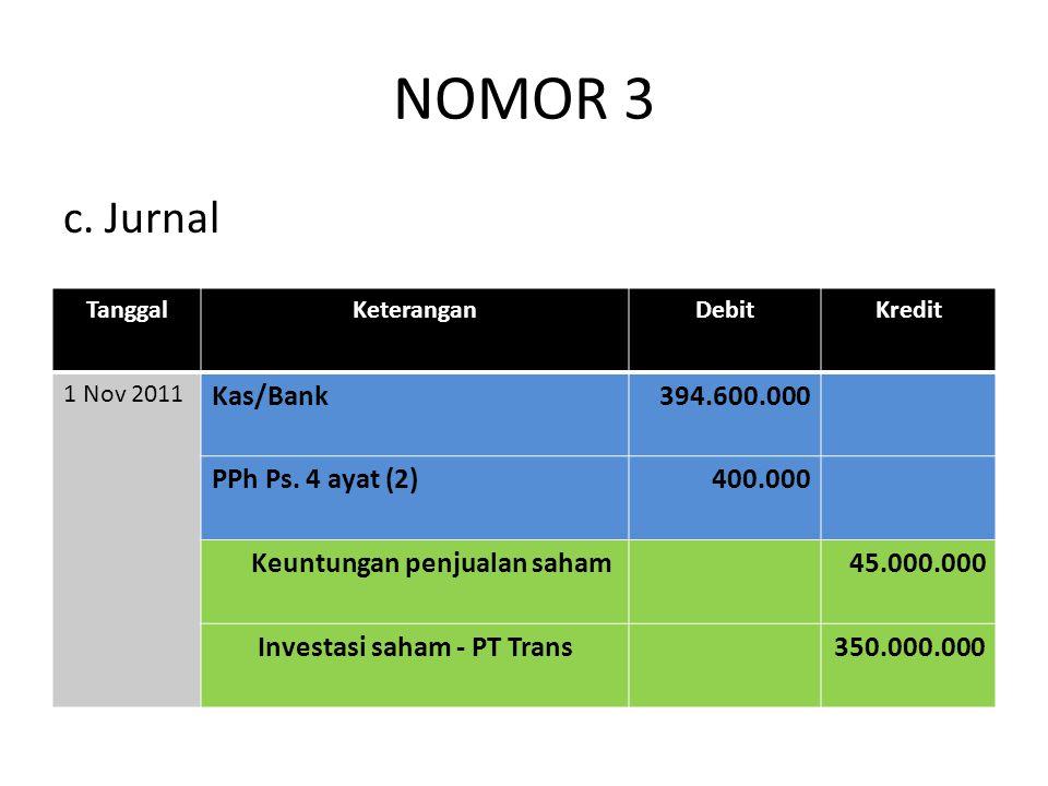 NOMOR 3 c. Jurnal Kas/Bank 394.600.000 PPh Ps. 4 ayat (2) 400.000