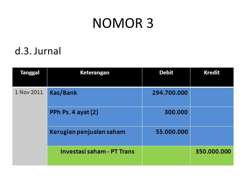 NOMOR 3 d.3. Jurnal Kas/Bank 294.700.000 PPh Ps. 4 ayat (2) 300.000