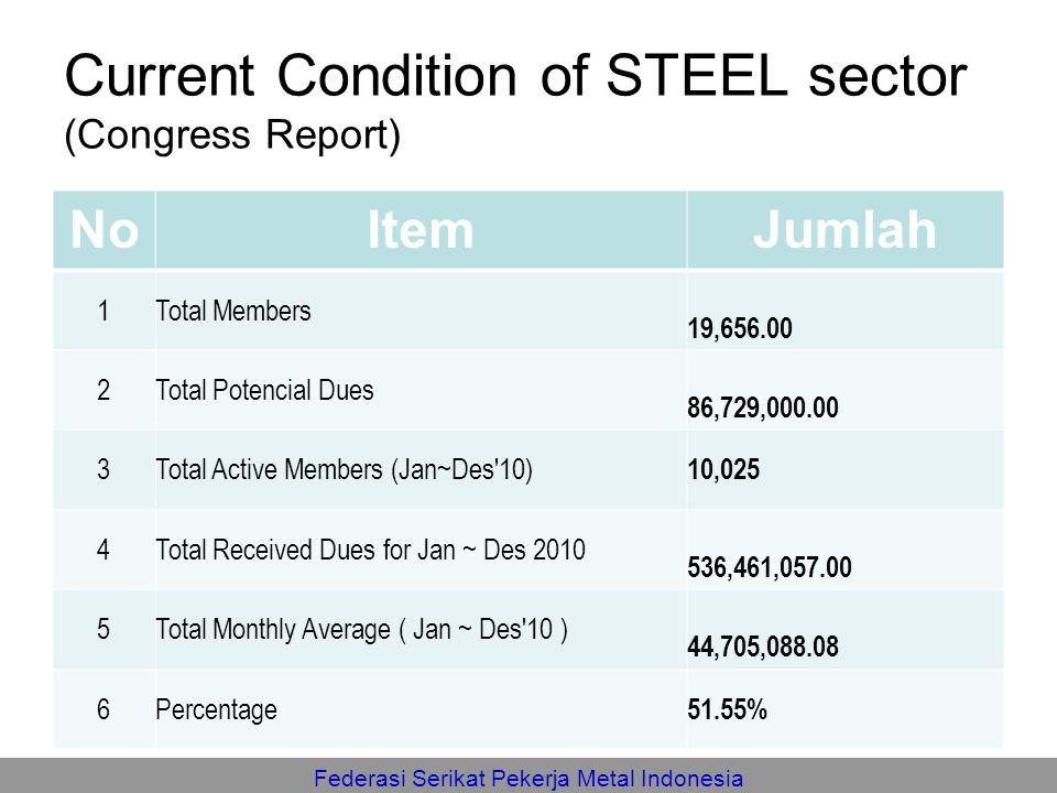 Current Condition of STEEL sector (Congress Report)