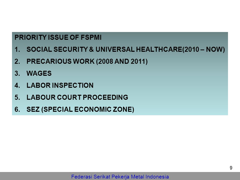 PRIORITY ISSUE OF FSPMI