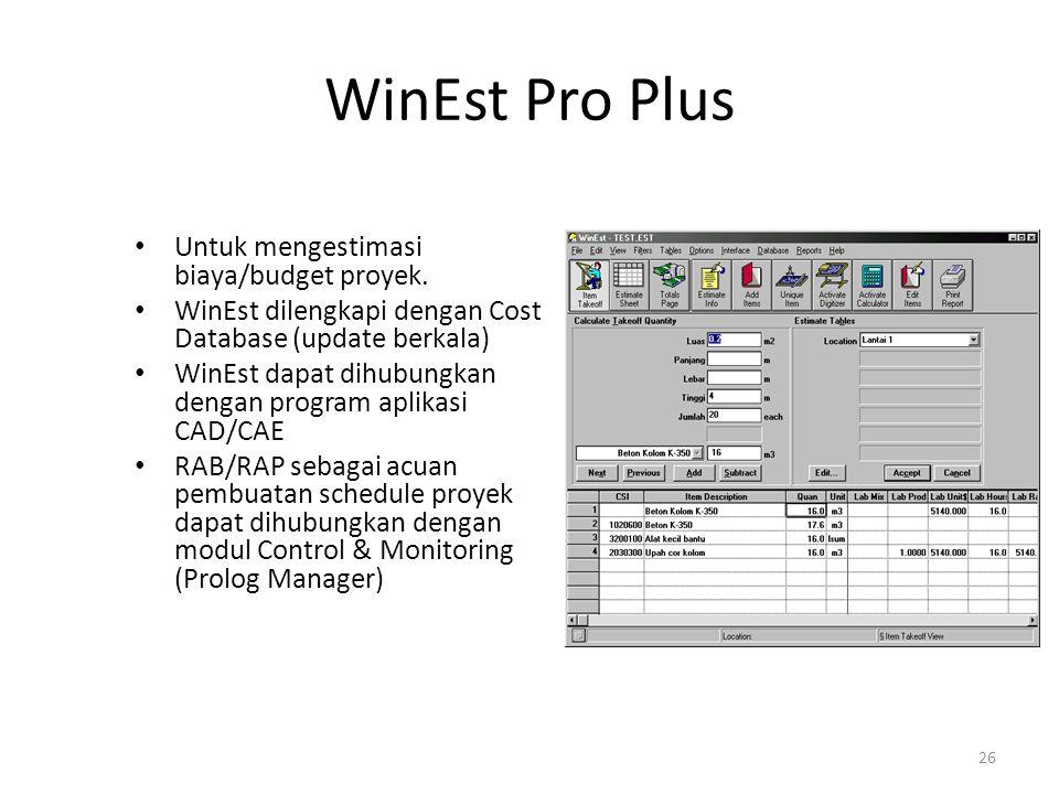 WinEst Pro Plus Untuk mengestimasi biaya/budget proyek.
