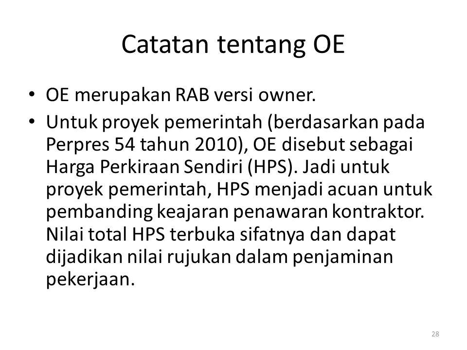 Catatan tentang OE OE merupakan RAB versi owner.