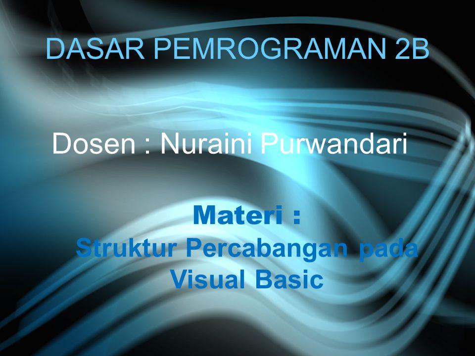 Struktur Percabangan pada Visual Basic
