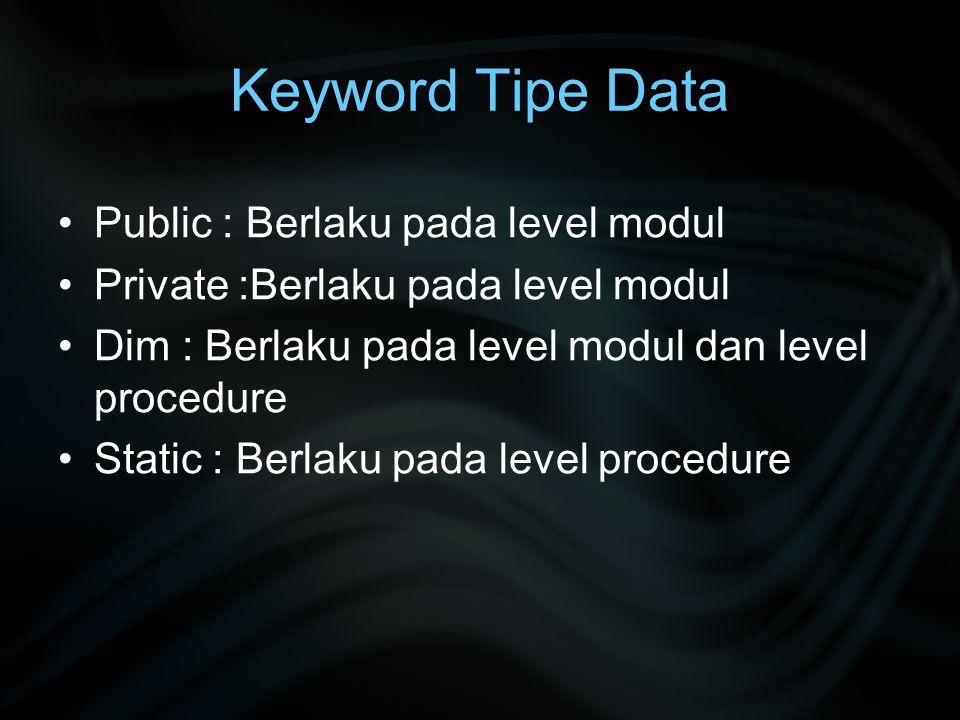Keyword Tipe Data Public : Berlaku pada level modul