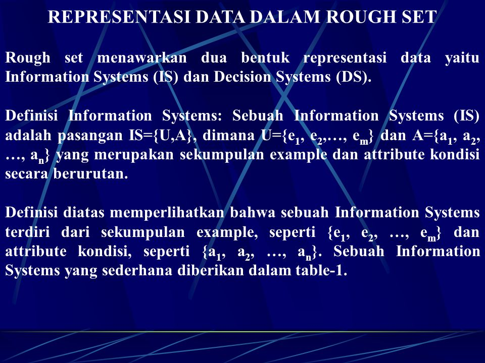 REPRESENTASI DATA DALAM ROUGH SET