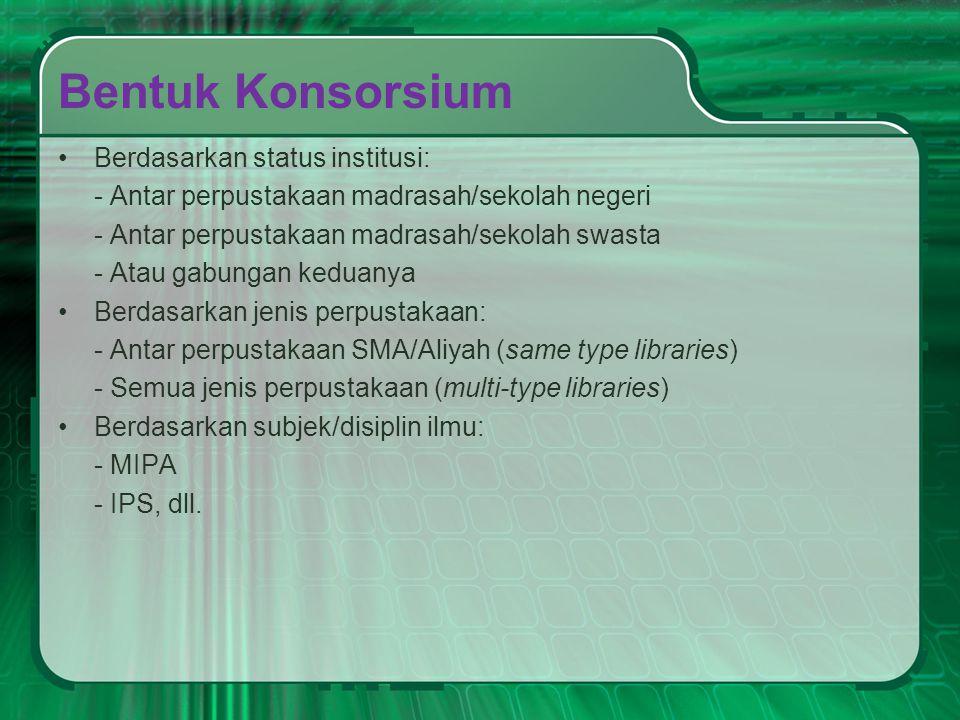 Bentuk Konsorsium Berdasarkan status institusi: