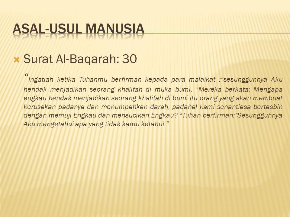 Asal-usul manusia Surat Al-Baqarah: 30